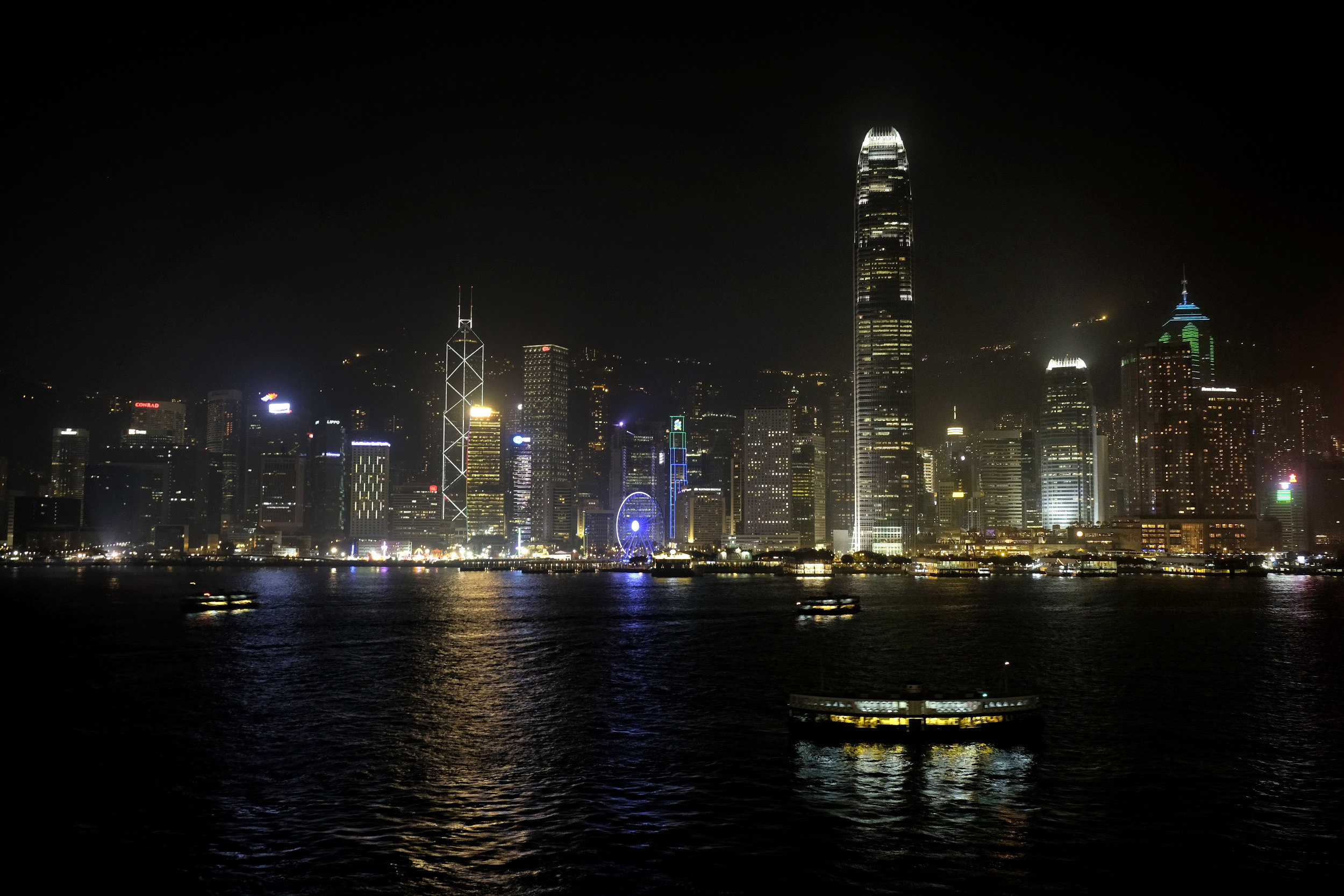 Hong Kong Skyline in de Avond
