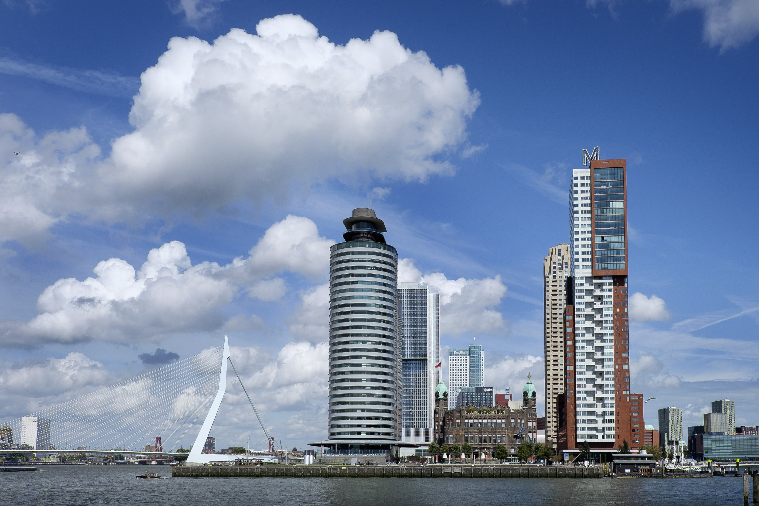 Rotterdam Kop van Zuid Skyline Erasmusbrug de Rotterdam Montevideo Hotel New York World Port Center