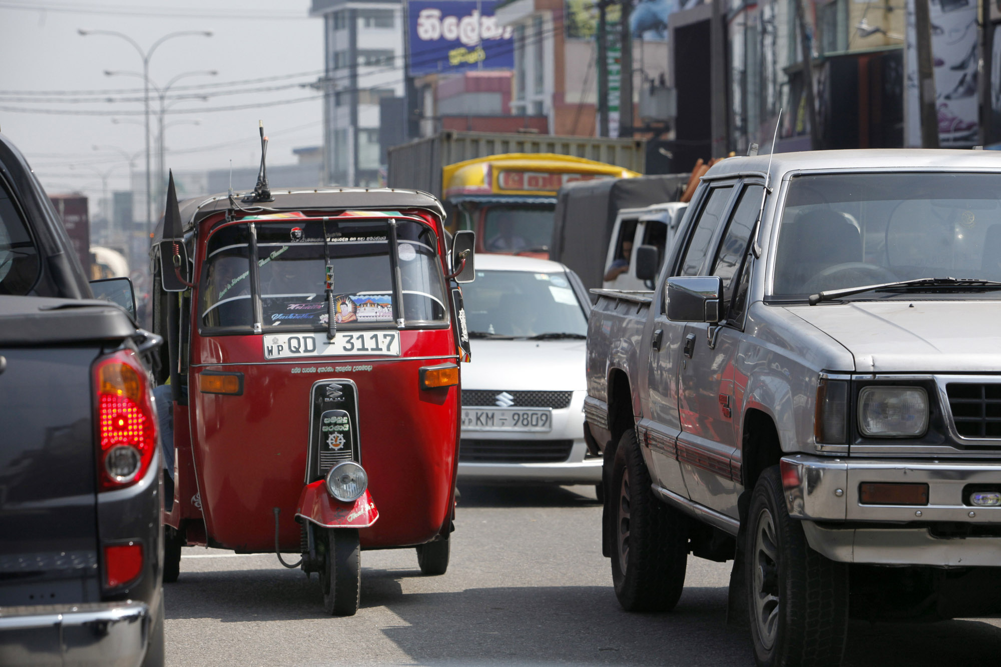 Sri Lanka Straatbeeld Tuktuk Autos