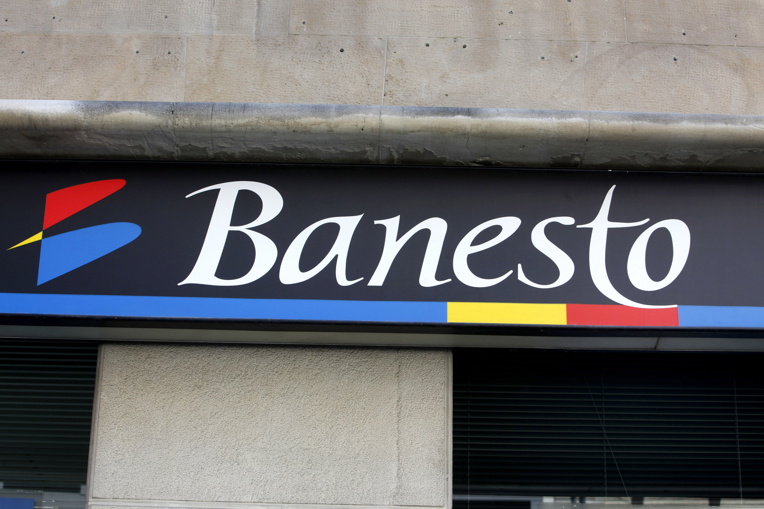 Spanje, Spain, Pamplona, Banesto bank, logo